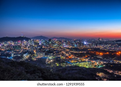 view of downtown in night at seoul city south Korea