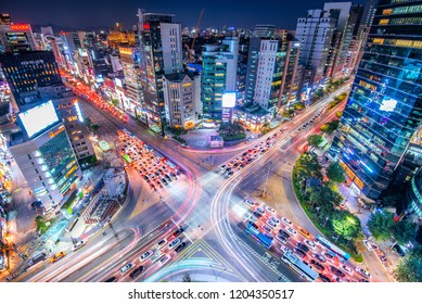 view of downtown in nights at gangnam square : 9 september 2018 seoul south Korea
