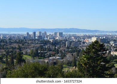 View of Downtown Oakland, California with San Francisco Bay in the background.