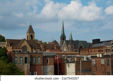 View of downtown on a Summer afternoon.  Burlington, Iowa, USA