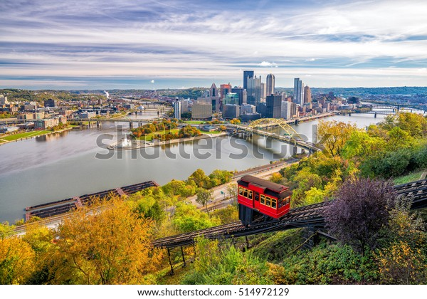 View of downtown Pittsburgh from top of the Duquesne Incline, Mount Washington, in Pittsburgh, Pennsylvania USA