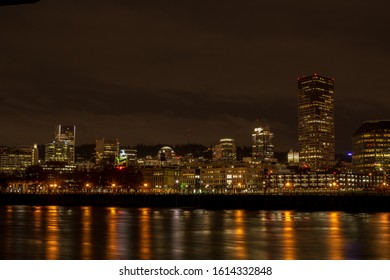 View of Downtown Portland, Oregon, across the Willamette River from the Eastbank Esplanade.