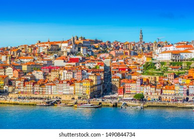 View of downtown Porto (Oporto), Portugal. Cityscape of the second-largest Portuguese city. (There are some cables of a cable road in the foreground)
