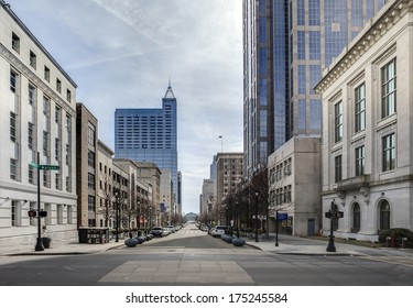 view of downtown raleigh, north carolina from street level, hdr image