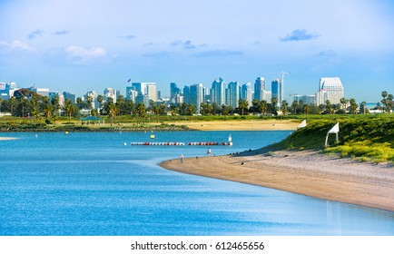 View of Downtown San Diego from Mission Bay Park.  San Diego, California USA.