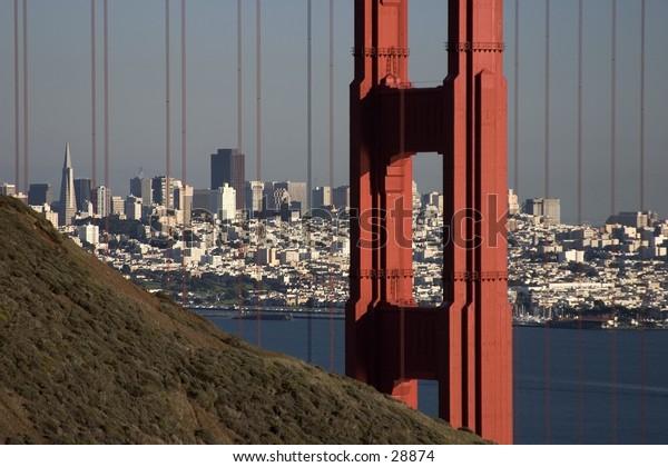 View of downtown San Fracisco through the Golden Gate Bridge