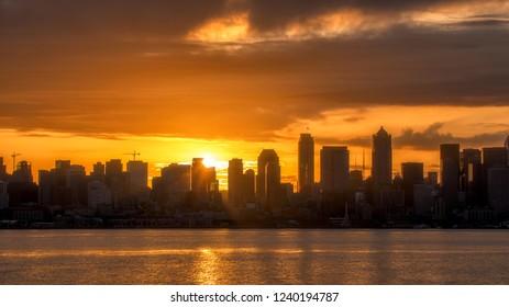 View of Downtown Seattle Skyline at Beautiful Sunrise, Washington, USA