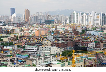 View to downtown of Seoul and mountain. South Korea