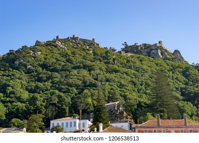 View from downtown of Sintra to  the medieval Castle  of the Moors on a hilltop in Portugal near Lisbon; Sintra Cultural Landscape.