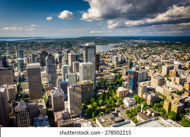 View of the downtown skyline, in Seattle, Washington.