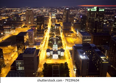 View of downtown St. Louis, Missouri from the Gateway Arch at night