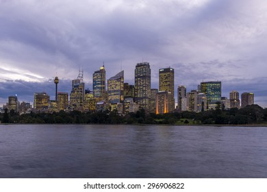 The view of downtown Sydney from Mrs Macquarie's Chair.