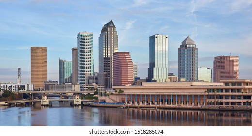 View of the downtown Tampa, Florida skyline and Tampa Convention Center on a balmy winter day