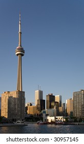 View of downtown Toronto and CN Tower from the lake Ontario