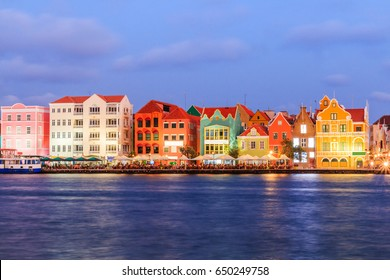 View of downtown Willemstad at twilight. Curacao, Netherlands Antilles