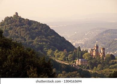 View to Drachenburg and Drachenfels near Koenigswinter