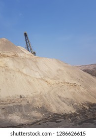 view of dragline boom in a coal mine in India