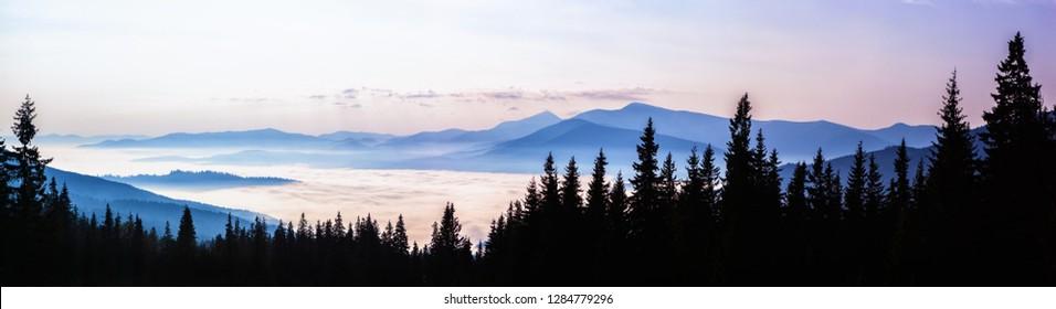 View from Dragobrat ski resort on Mount Hoverla 2061m - highest mountain in Ukraine.