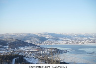 View of Drammen fjord in winter time.