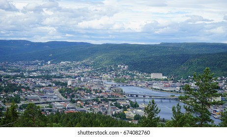 View of Drammen from the local mountain , Buskerud, Norway.