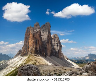 View of Drei Zinnen or Tre Cime di Lavaredo with beautiful cloud on sky, Sextener Dolomiten or Dolomiti di Sesto, South Tirol, Dolomites mountains, Italien Alps