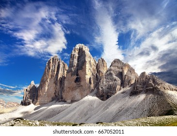 View of Drei Zinnen or Tre Cime di Lavaredo with beautiful cloud on sky, Sextener Dolomiten or Dolomiti di Sesto, South Tirol, Dolomites mountains, Italian Alps