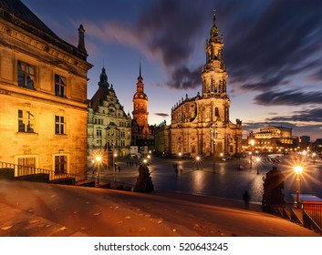 View of Dresden in dramatic evening. Germany, Saxony, Europe.