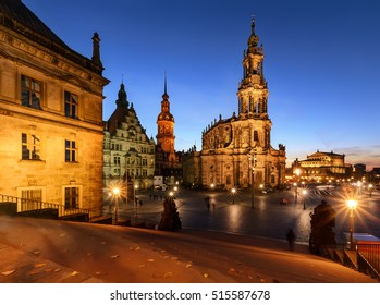 View of Dresden in the evening. Germany, Europe.
