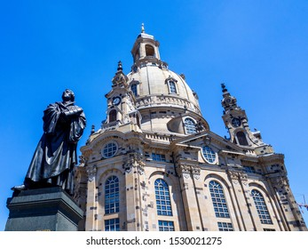 A View of The Dresden Frauenkirche(Evangelical-Lutheran Church of Saxony) in Dresden, Germany.