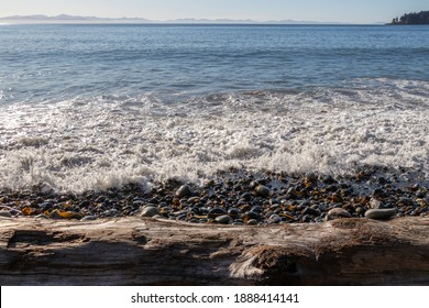 View of driftwood and Pacific Ocean from the rocky beach at French Beach Provincial Park on Vancouver Island, Canada