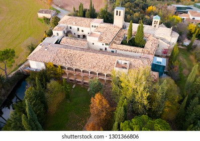 View from drone of ancient Romanesque monastery Sant Benet de Bagess, Catalonia, Spain