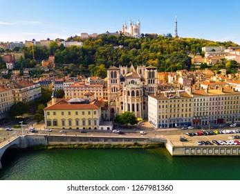 View from drone of Cathedral of Saint-Jean and Notre Dame Basilica on Fourviere hill on bank of river Saone in Lyon, France