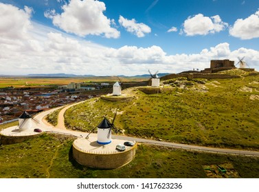 View from drone of famous Route of Don Quixote in Consuegra with windmills , Spain