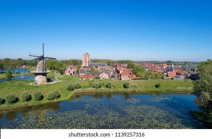 View with drone of the fortress city of 'Woudrichem' in the province of 'Noord-Brabant', the Netherlands