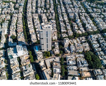 View from the drone on the central Tel-Aviv, Israel
