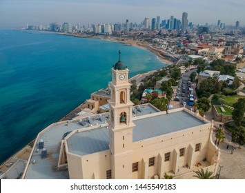 View from the drone on the old town of Jaffa and Tel Aviv, Israel. Tower of the bell from the bird's eye view