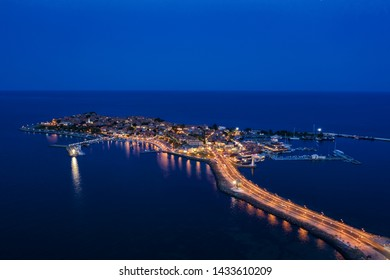 View of drone to the sea town Nessebar on Black Sea, Bulgaria