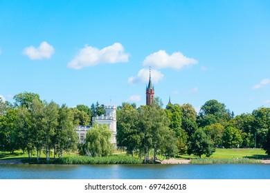 View of the Druskininkai city from the lake Druskonis
