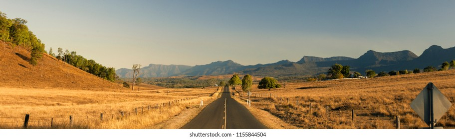 View of the dry countryside in Tarome, The Scenic Rim, Queensland.
