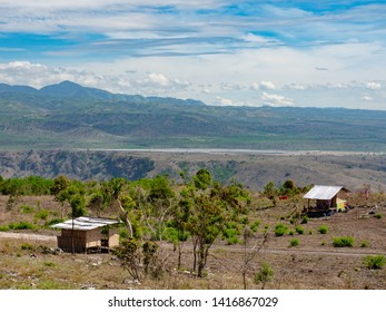 View of the dry mountain landscape in Barangay Bawing, General Santos City, South Cotabato on Mindanao, the southernmost large island of the Philippines. Solar power plant visible in the background.