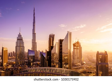 View of Duba downtowni skyline at sunset