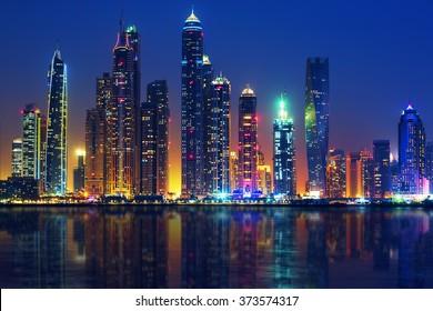 View of Dubai by night, UAE