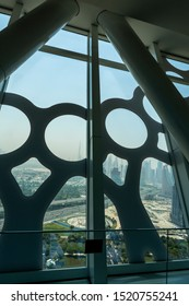 View of the Dubai City seen through the stainless steel cladding of the Dubai Frame.
