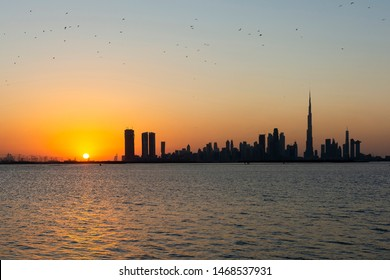 The view from the Dubai Creek Harbour development captures a great view of the skylie of Dubai.
