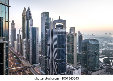 View of Dubai International Financial District at sunrise. Dubai, UAE.