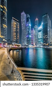 View of Dubai Marina Skyline and Beautiful Towers at Night. Dubai - UAE. 25 February 2019.