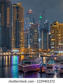 View of Dubai Marina Skyline at Night. Dubai - UAE. 12 November 2018.