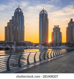 View of Dubai marina at sunrise, UAE