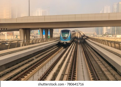 View of the Dubai Metro Red Line. Dubai - UAE. 23 December 2017