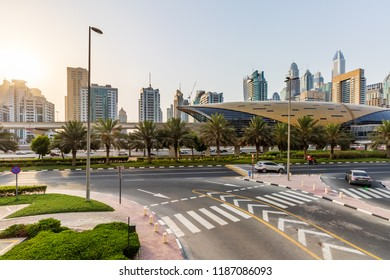 View of a Dubai Metro Station from JLT Area. Dubai - UAE. 20 July 2018
